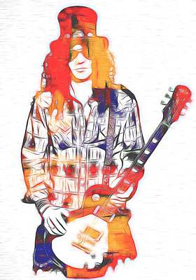 Music Mixed Media - Slash Graphic by Dan Sproul