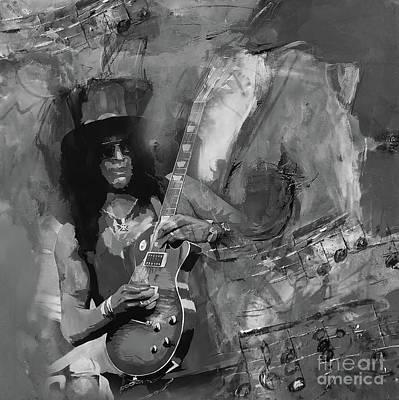 Painting - Slash Guitarist by Gull G