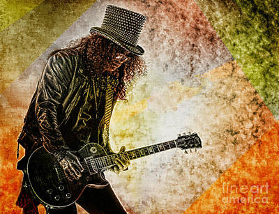 Digital Art - Slash - Guitarist by Ian Gledhill