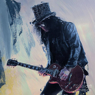 Painting - Slash Musician 01 by Gull G
