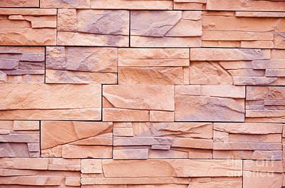 Slate Tiles Purple Beige Rock Abstract  Art Print by Arletta Cwalina