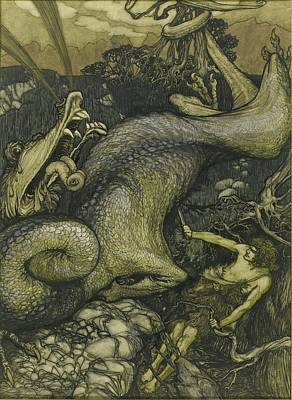 Slaying Painting - Slaying Dragon by Arthur Rackham