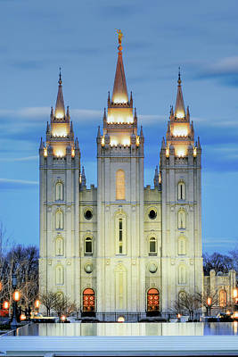 Salt Lake Temple Wall Art - Photograph - Slc Temple Blue by La Rae  Roberts