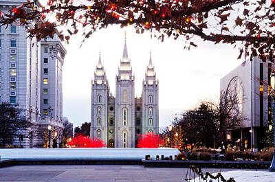 Slc Temple Photograph - Slc Temple Red And White by La Rae  Roberts
