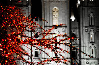 Utah Temple Photograph - Slc Temple Red White N Black by La Rae  Roberts