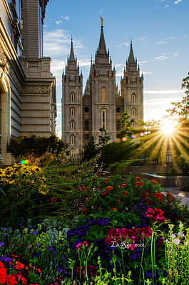 Mormon Temple Photograph - Slc Temple Sunburst by La Rae  Roberts