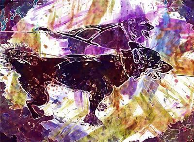 Digital Art - Sled Dogs Alaska Dog Sled Sled  by PixBreak Art