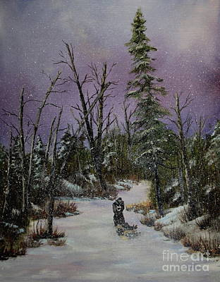 Sled Dogs Painting - Sled Dogs by Joi Electa