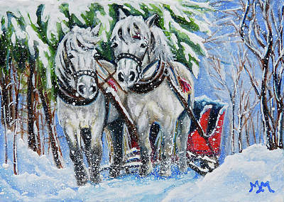 Painting - Sled Horses by Monique Morin Matson