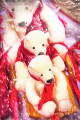 Sled With Papa Bear Art Print by David Millenheft