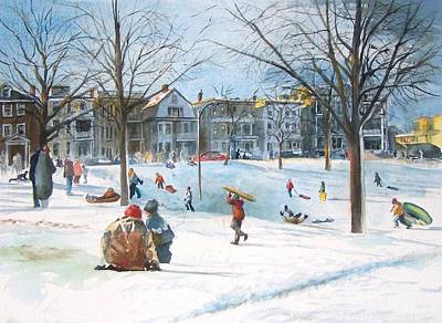 Sledding At Aquarium Hill Art Print by Dan McCole