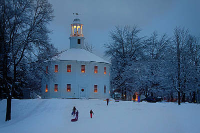 Photograph - Sledding At The Richmond Vermont Church by Jeff Folger