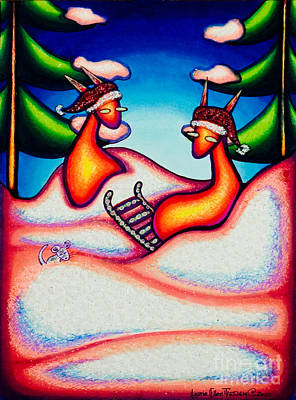 Drawing - Sledding Kats by Laurie Tietjen