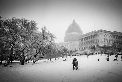 Sledding On Capitol Hill Art Print by Robert Davis