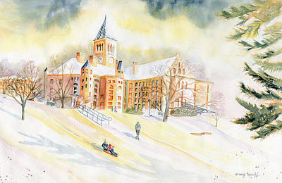 Painting - Sledding On Libe Slope - Cornell University by Melly Terpening