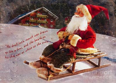 Digital Art - Sledding Santa Card 2015 by Kathryn Strick