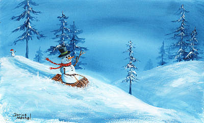 Painting - Sledding Snowman by Darice Machel McGuire