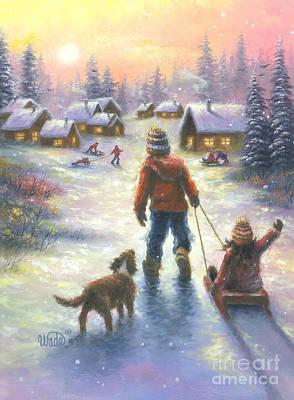 Sledding To The Village Original