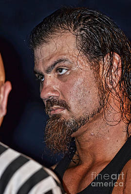 Photograph - The Pre-fight Staredown By Pro Wrestler Sledge by Jim Fitzpatrick