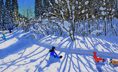Kids Winter Fun Painting - Sledging And Skiing Down The Trail by Andrew Macara