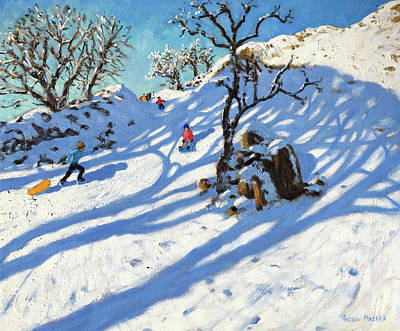 Winter Fun Painting - Sledging, Glutton Bridge, Buxton, Derbyshire by Andrew Macara