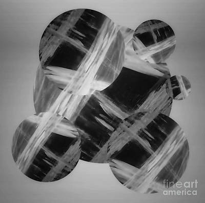 Mixed Media - Sleek Greyscale Abstract by Rachel Hannah