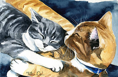 Painting - Sleep Well Little One Cat Painting by Dora Hathazi Mendes