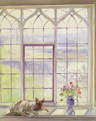 Window Sill Painting - Sleeper With Anemones by Timothy Easton