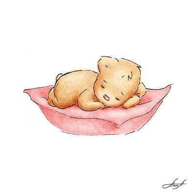 Baby Animals Drawing - Sleeping Baby Bear by Anna Abramska