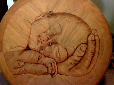 David Gray Pyrography - Sleeping Baby by David Gray