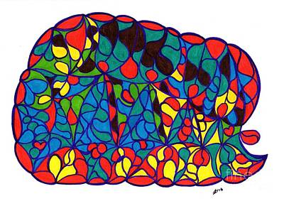 Drawing - Sleeping Baby Elephant by Susan Dimitrakopoulos