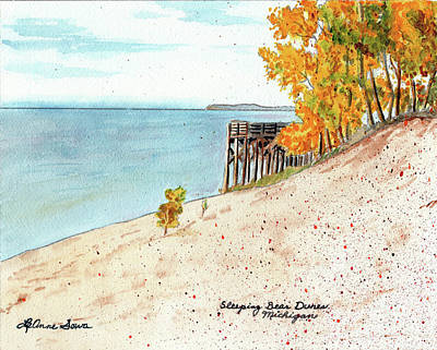 Painting - Sleeping Bear Dunes, Sand Dunes, Dune Paintings, Sandy Beaches, Lake Michigan Shoreline by LeAnne Sowa