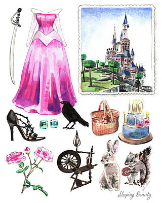 Sleeping Beauty Aurora Costume Watercolor Disney Princess Castle Dress Classic Disney World Art Print by Laura Row