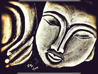 Sleeping Buddha 5 Print by Jagjeet Kaur