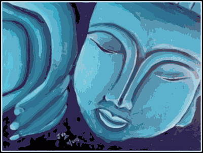 Sleeping Buddha Blue And Grey Print by Jagjeet Kaur