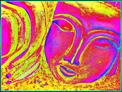 Sleeping Buddha Bold Yellow Print by Jagjeet Kaur