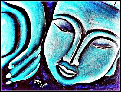 Sleeping Buddha Bright Print by Jagjeet Kaur