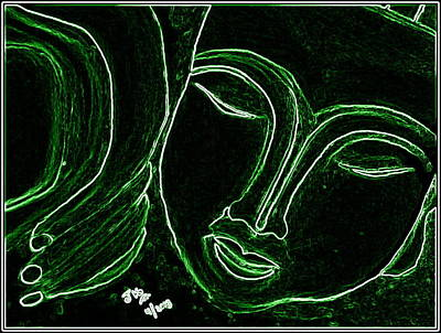 Sleeping Buddha Electric Green Print by Jagjeet Kaur