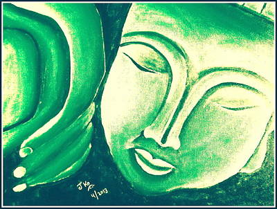 Sleeping Buddha Green Bright Print by Jagjeet Kaur