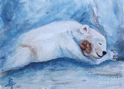 Painting - Sleeping Buddies Aceo Baby Polar Bear And Mouse by Brenda Thour