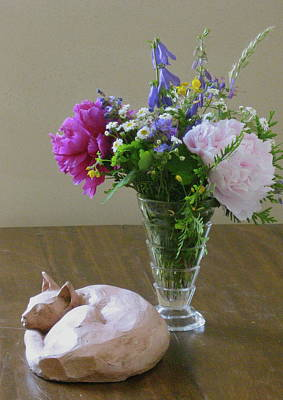 Sculpture - Sleeping Cat And Vase Of Flowers by Deborah Dendler
