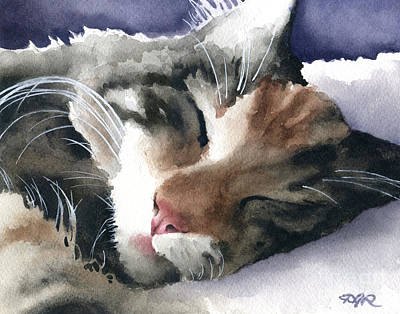 Catnap Painting - Sleeping Cat by David Rogers