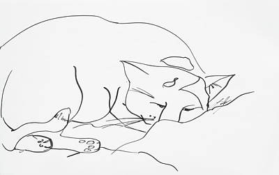 Drawing - Sleeping Cat by Leela Payne