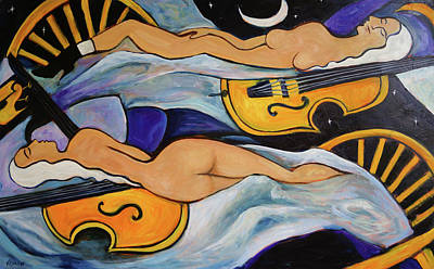 Sleeping Cellists Art Print by Valerie Vescovi