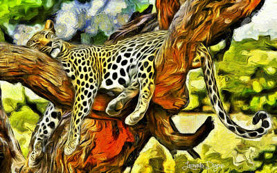 Leopard Digital Art - Sleeping Cheetah - Da by Leonardo Digenio