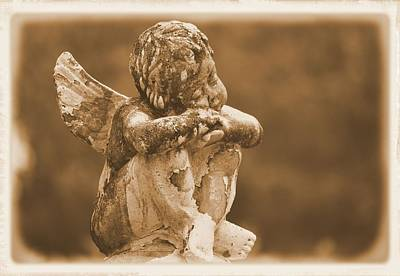 Photograph - Sleeping Cherub In Sepia by Nadalyn Larsen