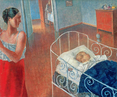 Caring Mother Painting - Sleeping Child by Kuzma Sergeevich Petrov Vodkin