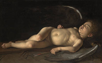 Sleeping Cupid Painting - Sleeping Cupid by Follower of Michelangelo Merisi da Caravaggio