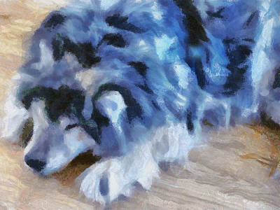 Fuzzy Digital Art - Sleeping Dog by Elaine Frink