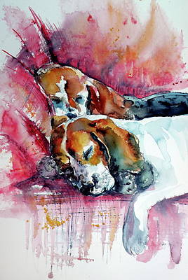 Painting - Sleeping Dogs by Kovacs Anna Brigitta